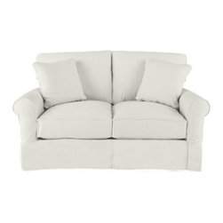 Ballard Designs - Suzanne Kasler Signature 13oz Linen Baldwin Loveseat Slipcover - Coordinates with Suzanne's linen panels, tablecloths & pillows. Removes easily for cleaning or a fresh change of seasonal color. Dry clean. Imported. Suzanne's best-selling line of luxurious linens now include slipcovers designed exclusively to fit our ultra-comfy Baldwin Loveseat. Hand finished with strong, over-locking seams and custom fitted to prevent shifting and bunching. A Baldwin Slipcover is necessary when ordering any Baldwin frame.Suzanne Kasler Baldwin Loveseat Slipcover features: . . . .