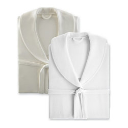 Kassatex - Luxury Diamond Robe, White - Indulge in superb softness with our Luxury Diamond bathrobe. Finely crafted in Portugal with a lightweight combination of cotton and modal, this piece displays feminine details such as a classic quilted design and delicate braided trim along shawl collar and wrist cuffs. 50% Cotton / 50% Modal Lightweight quilted design Delicately braided trim along shawl collar and wrist cuffs Sewn in hanger loop Made in Portugal Available in Small/Medium and Large/Extra-Large sizes