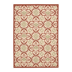 "Nourison - Nourison Carribean CRB02 9'3"" x 12'9"" Ivory, Rust Area Rug 23939 - Go Tropical with a flourish in vivid Caribbean style. This delightful collection of quality loomed rugs provides an instant housewarming. Choose from an exciting array of foliage and flower based designs, some with bold interplays of curvaceous geometrics. Concieved in deeply pigmented tones that contrast beautifully with soft nuetrals, for an effect as lush and welcoming as a sultry island. The woven loop pile adds an appealing accent of visual and tactile texture."