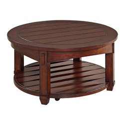 Hammary - Hammary Tacoma Round Cocktail Table in Rustic Brown - Round Cocktail Table in Rustic Brown belongs to Tacoma Collection by Hammary Cocktail Table (1)