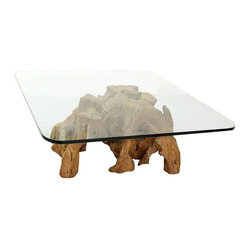 """Pre-owned Organic Freeform Solid Burl Wood Coffee Table Base - This is a beautiful organic free form solid raw burl wood coffee table base. This is a very unique, totally raw piece of eclectic art made by nature. This piece is that one of a kind beauty to set off a room. If you're looking to add an unexpected natural element to your living space, this guy is it. To boot, at certain angles this super cool piece resembles an elephant making it a double feature of form and function. Seller says: """"We've shown it with a large piece of glass making it a coffee table but it could be used without it as well.""""    The listing is for the base only unless shipping a short distance, then the glass may be included for an additional cost. Please inquire before purchase.    The base is in excellent solid condition. It is a raw piece of wood formed naturally and has natural imperfections that make it more perfect. There is no damage to note."""
