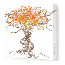 "Avalisa - Imagination - Branches Stretched Wall Art, 18"" x 18"", Orange - Simply add one piece of art to your home and watch how your personality starts to play out on the walls. The lively lines and swirls of these abstract branches will bring great energy and complement many home design styles. And with a stretched canvas, you won't even have to worry about framing!"