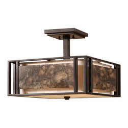 Uttermost - Uttermost 22268 Quarry 3 Light Semi-Flush Ceiling Fixture Designed by Carolyn Ki - Uttermost 22268 Carolyn Kinder Quarry 3 Lt Semi Flush MountSlabs of marble over an ivory shade create a simple linear feeling that works with a broad range of looks, effective whether contemporary, transitional, or rustic.Features: