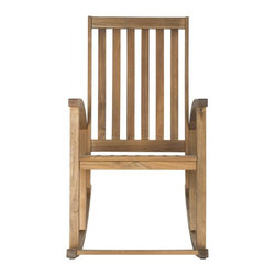 Safavieh - Clayton Rocking Chair - The Clayton rocking chair updates a time-proven country porch classic with new contemporary bentwood sides. Masterfully crafted of sustainable acacia wood with a teak brown finish, this piece is designed for long wear, comfort and ease of care.