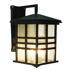 Joshua Marshal - Three Light Black Clear Seeded Rectangle Glass Wall Lantern - Three Light Black Clear Seeded Rectangle Glass Wall Lantern