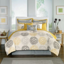 Chf Industries Inc. - Medallion Comforter Super Set - Modernize your bedroom in fresh, expressive style with the Medallion comforter super set. It features a contemporary take on mix and match bedding with a medallion design with color contrasts that simply pop off this set.