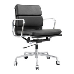 MEELANO - M342 Eames Style Office Chair in Black Italian Leather - Based on a true Mid-Century classic, you will look and feel like the person in charge.  Crafted with the softest and thickest padded seat, it comes with strong arms and a swiveling, rolling base. Do not forget its cool pneumatic lift.