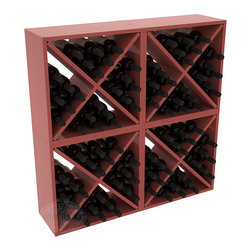"""Wine Racks America - 96 Bottle Wine Cube Collection in Ponderosa Pine, Cherry Stain + Satin Finish - Perfect for moderate storage requirements and converting that """"underneath"""" space into wine storage. Mix and match finishes to show your true wine-lover's spirit or experiment for a modern wine rack twist."""