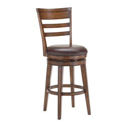 Hillsdale Furniture - Hillsdale Villagio Ladder Back Swivel Counter Stool in Dark Chestnut - Well made and sturdy construction with a dark chestnut finish give the Villagio ladder back swivel stool a defined appearance. The ladder back design makes this stool a timeless classic while the brown leather seats add warmth and comfort. Available in both counter of barstool height. Some assembly required.
