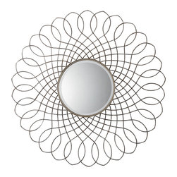 Uttermost - Uttermost Delphine Round Metal Mirror - Delphine Round Metal Mirror by Uttermost Hand Forged Twisted Metal Finished In An Antiqued Silver Leaf. Mirror Is Beveled.