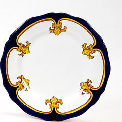 Artistica - Hand Made in Italy - GIGLIO D'ORO: Salad Plate - GIGLIO D'ORO Collection: Another elegant dinnerware design masterfully hand painted in Deruta, Italy, featuring a fine and intricate design from the renaissance period featuring a regal yellow-gold Giglio (Lily) painstakingly countered by a royal blue solid color, a fine and intricate design exclusively available in the USA only throughout Artistica!