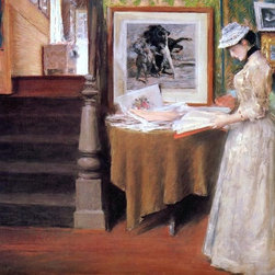 """William Merritt Chase Interior, Young Woman at a Table   Print - 16"""" x 20"""" William Merritt Chase Interior, Young Woman at a Table premium archival print reproduced to meet museum quality standards. Our museum quality archival prints are produced using high-precision print technology for a more accurate reproduction printed on high quality, heavyweight matte presentation paper with fade-resistant, archival inks. Our progressive business model allows us to offer works of art to you at the best wholesale pricing, significantly less than art gallery prices, affordable to all. This line of artwork is produced with extra white border space (if you choose to have it framed, for your framer to work with to frame properly or utilize a larger mat and/or frame).  We present a comprehensive collection of exceptional art reproductions byWilliam Merritt Chase."""