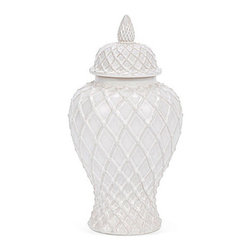 14-Inch Ginger Jar, White - Little details are key to pulling off a well-styled home. I am in love with this piece because of its detailed design.