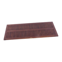 """DecoTeak - 40 in. x 20 in. Teak Spa Shower and Floor Mat - Each item is hand cut and the dimensions can vary slightly. Made from plantation grown sustainably harvested solid teak that is naturally water, and mildew resistant.. Slip resistant rubber tracks underneath. slats for ease of water drainage. Provides attractive bathroom, shower, or outdoor accent. Attractive spa design coordinates with other spa family teak bathroom products.. No assembly required. 32 day satisfaction guarantee.  provides comfortable surface for standingUse in the shower, bathroom, or outdoors. Stain:  Deco Teak deep penetrating indoor outdoor golden brown. No Assembly Required. Size:  40"""" Length x 20"""" Width x 1"""" Height. Product Weight: 12 lbs."""