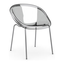 Calligaris - Bloom Chair, Chrome/Transparent Clear, Set of 2 - TechnoPolymer Shell