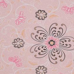 Romosa Wallcoverings - Pink Purple / Black Floral Lotus Wallpaper - - Color: Pink Purple / Black