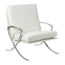 Euro Style - Pietro Lounge Chair - White Leather/Chrome - Leather cushions and very real comfort.  The steel frame of Pietro Lounge chair combines arms and legs in a striking line and despite its strength, has a slight and relaxing springiness.