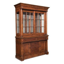 """Fredericksburg China Cabinet - Finally, a dedicated space for all the special pieces in your life. Glass ends, mirrored back and 2 dimmable halogen can lights spotlight favorites and collectibles on 2 adjustable 5/16""""-thick glass shelves behind space-saving sliding glass doors. Top drawers have a flat liner pad (left) and silver tray and divider pad (right). Organize further with 3 center drawers and adjustable shelves behind doors."""