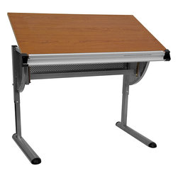 Flash Furniture - Flash Furniture Adjustable Drawing and Drafting Table with Pewter Frame - This professional drafting table offers you a great looking table at an affordable price. The sleek frame finish provides a more modern appeal to fit into many environments. The work surface includes a ruler for convenient measurements when drawing out plans. [NAN-JN-2433-GG]