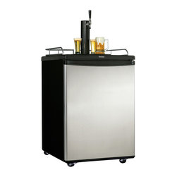 "Danby - 6.0 Cu.Ft. Beer Keg Cooler - Accommodates full or pony sized kegs (60 litres), Spotless steel finish - looks identical to real stainless steel but without the smudging, Converts to a 5.8 cu.ft. (163 litre) capacity all refrigerator, Co2 tank and all hardware included (Co2 requires charging), Automatic defrost, Scratch resistant work top, Reversible door hinge, Chrome guard rail included, Black/Chrome beer tower dispenser, Drip tray included, Optional swivel castors for easy portability, Unit dimensions 24 4/16"" W x 24"" D x 36"" H"