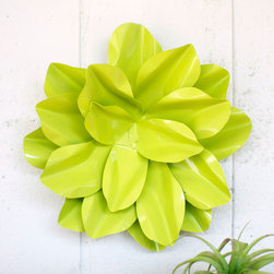 Green Thumb Metal Flower - Bring some plant life into your home without all the watering. No Green Thumb required. Made of metal, this flower blooms out of the wall like a vertical terranium (minus the hassle).