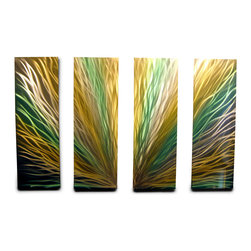 Miles Shay - Metal Wall Art Decor Abstract Contemporary Modern- Radiance 36 Green Gold - This Abstract Metal Wall Art & Sculpture captures the interplay of the highlights and shadows and creates a new three dimensional sense of movement as your view it from different angles.