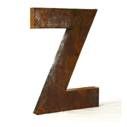 """Kathy Kuo Home - Industrial Rustic Metal Large Letter Z 36""""H - Create a verbal statement!  Made from salvaged metal and distressed by hand for an imperfect, time-worn look."""