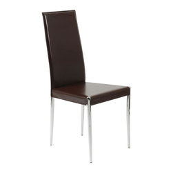 Euro Style - Streamlined Dining Chairs in Chrome and Brown - Set of 4. Chromed metal frame. Seat and back upholstered in. leather. Pictured in Brown/Chrome. Some assembly required. Assembly Instructions. 17.91 in. W x 20.87 in. L x 38.58 in. H (16 lbs.)