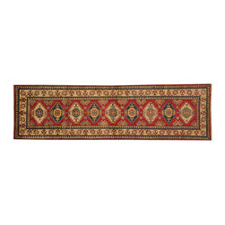 1800-Get-A-Rug - 100% Wool Super Kazak Oriental Rug Runner Hand Knotted Tribal Design Sh16546 - Our Tribal & Geometric hand knotted rug collection, consists of classic rugs woven with geometric patterns based on traditional tribal motifs. You will find Kazak rugs and flat-woven Kilims with centuries-old classic Turkish, Persian, Caucasian and Armenian patterns. The collection also includes the antique, finely-woven Serapi Heriz, the Mamluk Afghan, and the traditional village Persian rug.