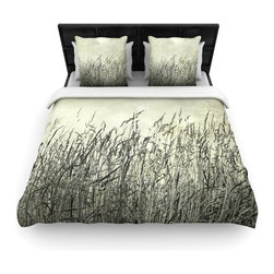 """Kess InHouse - Iris Lehnhardt """"Summer Grasses"""" Neutral Gray Woven Duvet Cover (Queen, 88"""" x 88"""" - Add a splash of artistically inclined comfort to the average down comforter with a large focus to your bed! Our duvet cover is made of a beautifully crafted woven polyester fabric on top and a comforting and soft cotton/poly blend on bottom! We highly recommend washing your artwork before laying it onto your bed for added comfort and softness! These are totally machine washable and won't fade!"""