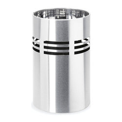 Blomus - Slice Stainless Steel Wastebasket - Small - A sleek, sophisticated and smartly designed wastebasket is almost as rare as a unicorn. But behold! And not only is this stainless version a simple beauty, a plastic insert makes trash disposal quick and easy too.