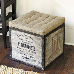 Ballard Designs - Burlap Seat Storage Ottoman - Great natural, neutral texture. Crafted of reclaimed wood planks. Rustic metal accents. With our Burlap Seat Storage Ottoman in the wings, you never have to worry about where to seat that extra unexpected guest around the coffee table. Just the right size to double as a quick pull-up perch, the nicely padded burlap seat lifts off, so you can store magazines and hide clutter inside. Burlap Seat Storage Ottoman features:  .  .  .