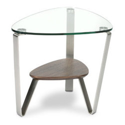 BDI USA - Dino End Table - Destined to be a BDI classic, the soft, triangular shape of the Dino table makes them a versatile choice for a variety of settings. The glass top and beveled lower shelf are securely attached. Features: -Versatile triangular shape coordinates with a variety of upholstery sizes and configurations.-Tempered glass top and beveled lower shelf.-Designed for indoor use on level floors.-Clean glass with glass cleaner, and shelf with a moist cloth.-Dino collection.-Collection: Dino.-Distressed: No.-Stackable: No.-Reclaimed Wood: No.-Adjustable Height: No.-Outdoor Use: No.-Swatch Available: Yes.-Built In Outlets: No.-Powered: No.Specifications: -CARB Compliant: Yes.Dimensions: -Overall Height - Top to Bottom: 21.-Overall Width - Side to Side: 29.-Overall Depth - Front to Back: 21.25.-Table Top Width - Side to Side: 29.-Overall Product Weight: 37.-Shelving: Yes.Assembly: -Assembly Required: Yes.-Additional Parts Required : No.Warranty: -Product Warranty: 3 years.