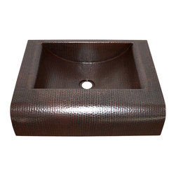 """Artesano Copper Sinks - Rectangular Raised Profile Bathroom Copper Sink with Apron - Rectangular Raised Profile Bathroom Copper Sink with Apron 20 x 16 x 5, apron front height is 5"""", drain is 1.5"""", side rims are 2.5"""",front rim is 4"""", back rim is 1"""", gauge 16,inside is 15 x 11 x 4.5"""". The sink will sit 1.5"""" high from the countertop"""