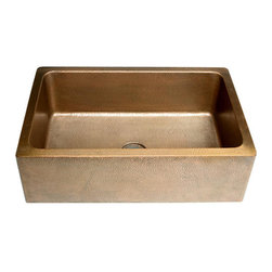 HIGHPOINT COLLECTION - Hammered 30-inch Farm/Apron Sink - Handmade kitchen sink is perfect for your kitchen's decor Apron Sink features a hammered copper construction Kitchen farm sink is made of heavy gauge copper