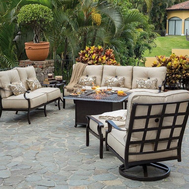 Fire Pits - Great for Fall and Winter - Castelle, manufactured by Pride Family Brands in Costa Rica, is constructed of rust-free, lightweight, durable aircraft grade aluminum and uses full-circumference welding to eliminate gaps and stress points on the frames. Castelle is an industry leader and is known for producing high-quality outdoor furniture that blends all-weather durability with indoor styling. http://www.authenteak.com/fire---heat-fire-pits---chimineas.html