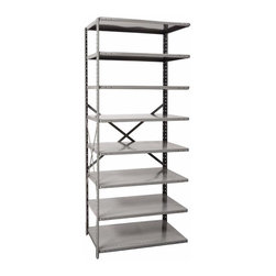 Hallowell - 87 in. High 8-Tier Hi-Tech Heavy-Duty Open Shelving - Adder (36 in. W x 18 in. D - Depth: 36 in. W x 18 in. D x 87 in. H. A durable design and a braced back make this heavy duty shelving unit an excellent choice for expanding your storage options in a workshop, basement or garage. Also perfect for commercial use, the unit is made of cold rolled steel in classic gray finish and is available in your choice of depths. Great addition to Hi-Tech heavy-duty open shelving starter unit. Open style with sway braces. 8 Adjustable shelves. Fabricated from cold rolled steel. Welds are spaced 3 in. on center to provide maximum strength. Sides are triple flanged to form a channel. All 4 corners are lapped and resistance welded to provide a rigid corner and add extra strength to the shelf. Tubular front edge is designed to protect against impact loads. 36 in. W x 12 in. D x 87 in. H. 36 in. W x 18 in. D x 87 in. H. 36 in. W x 24 in. D x 87 in. H. Assembly required. 1-Year warranty
