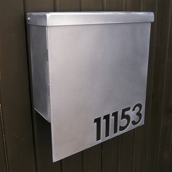 Address Plaques - Custom House Number Mailbox No. 1310 Drop Front in Brushed Aluminum
