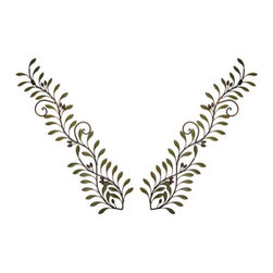 Pair Of 32 Inch Metal Olive Branch Wall Hangings - This absolutely beautiful pair of metal olive leaf wall hangings will make a wonderful addition to your decor. Measuring 32 inches long, 2 1/2 inches wide, the wall hangings add a touch of Tuscan flavor to kitchens, living rooms and bedrooms. They make a great gift for family and friends.