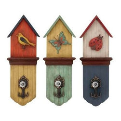 "Benzara - Metal Wall Hook with Three Colors 3 Assorted - Metal Wall Hook with Three Colors 3 Assorted. Add to your sober settings the grace and elegance of the classic English designs with this Set of attractive wood metal hook wall decor. It comes with a following dimension 8""W x 3""D x 22""H."