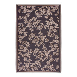Fab Habitat - Indoor/Outdoor Versailles Rug, Chocolate Brown & Tan, 6x9 - Drink it in. The soft colors and classic styling of this rug look so traditional you almost won't believe how it's made. Woven from recycled plastic straws, it's ecofriendly, stain and mildew resistant, reversible, easy to clean and works equally well inside or out.