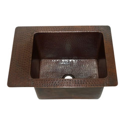 "Artesano Copper Sinks - Rectangular Undermount  Bathroom Copper Sink - Rectangular Undermount  Bathroom Copper Sink 17 x 12 x 9  for Undermount or Dropped In installation, 1.5"" side rims, 3.5"" back rim, 1.5"" drain,  all hand made, all copper, all hammered, gauge 16, inside 12 x 9 x 8.5"""