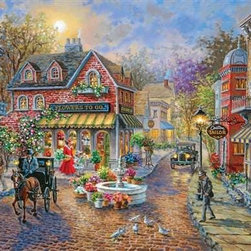 Cobblestone Village Puzzle - 500 Piece Jigsaw PuzzleLooking back to the clip-clop of horse-drawn carriages and the golden glow of gas-lit lanterns, Cobblestone Village tells the story of a summer's day in a different time. Flowers bloom in this idyllic village as ladies in long skirts run errands with baskets in hand, and gentlemen stroll with bowlers and umbrellas. This is village life from a by-gone era, painted in rich color and with minute details, a jigsaw puzzle that may be just as challenging as it is beautiful.