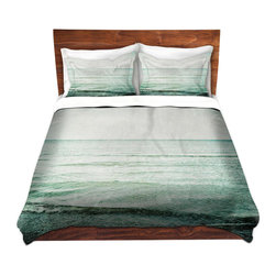 DiaNoche Designs - Duvet Cover Twill by Iris Lehnhardt - The Sea, My Love - Lightweight and soft brushed twill Duvet Cover sizes Twin, Queen, King.  SHAMS NOT INCLUDED.  This duvet is designed to wash upon arrival for maximum softness.   Each duvet starts by looming the fabric and cutting to the size ordered.  The Image is printed and your Duvet Cover is meticulously sewn together with ties in each corner and a concealed zip closure.  All in the USA!!  Poly top with a Cotton Poly underside.  Dye Sublimation printing permanently adheres the ink to the material for long life and durability. Printed top, cream colored bottom, Machine Washable, Product may vary slightly from image.