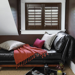 "Smith & Noble 3 1/2"" Louver Wood Shutters - Handmade from top-grade, sustainably grown 100% basswood, the clean, structured lines of our custom Wood Shutters instantly create an atmosphere of nobility. Wood Shutters are shipped in 6 business days. Starting at $41"