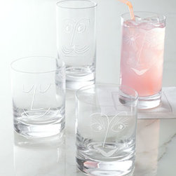 "kate spade new york - kate spade new york Two ""Bar Belles"" Highballs - Whimsical glassware adds a bit of personality to beverage service. Sold in pairs, each glass is etched to resemble one half of a happy couple, creating a perfect pair. Made of lead-free crystal. Dishwasher safe. Double old-fashioned glasses hold 12 o..."