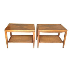Mid-Century End Tables - A Pair - This matching set of Mid-Century end tables have a fabulous diamond pattern inlay. These tables function as end tables, night stands or even as a coffee table when placed side by side. Overall they are in good condition with the exception of a few minor nicks. The bottom layer's caning is a great detail that allows for many storage and styling opportunities.