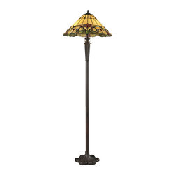 Z-Lite - Z-Lite Z18-49FL Sola 3 Light Floor Lamps in Chestnut Bronze - This floor lamp in the Sola family features a rich foliage with brightly colored floating flowers set against a honey background. This warm look is complimented with chestnut bronze hardware, guaranteed to bring natural essence to any room.
