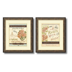 Amanti Art - Daphne Brissonnet 'French Seed Packets- set of 2' Framed Art Print 19 x 22-inch - Invoke a sense of charming nostalgia with this accent piece by Daphne Brissonnet. Dedicated to Parisian roses this framed art print set makes a great gift for gardeners, shabby chic and floral enthusiasts alike.