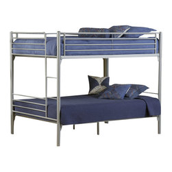 Hillsdale Furniture - Hillsdale Universal Youth Full/Full Bunk Bed - The silver and navy Universal Youth bedroom offers super solutions for any kids room, whether you choose the traditional bed, the bookcase headboard with under bed storage, the loft bed or bunk beds. Add any combination of case goods to create the perfect home base for your child, tween or teen.